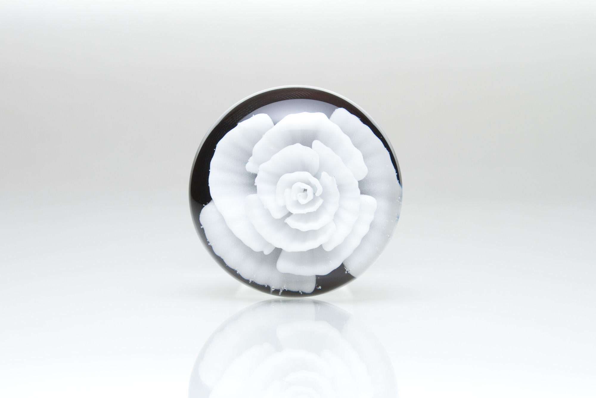 Back View white rose glass butt plug by Hedonic Glass